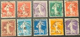 Semeuse N° 134 à 142  Avec Oblitération Cachet à Date  TTB - 1906-38 Semeuse Camée