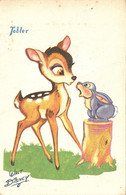 Disney Bambi Et Panpan Chocolat Tobler  (Carte Vierge Mais Tâchée) - Otros