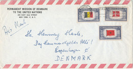 USA Air Mail Cover Sent To Denmark With Overrun Countries Stamps Belgium, Norway And Albania Flags - 3c. 1961-... Covers
