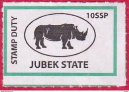 SOUTH SUDAN 10 SSP Revenue / Fiscal Stamp Jubek State RHINO MNH Timbres Fiscaux Soudan Du Sud - Zuid-Soedan