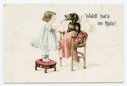 E.Frunk. Petite Fille Et Son Chien Malade. Teckel En Chaise Haute .dachshund Dog, - Dogs