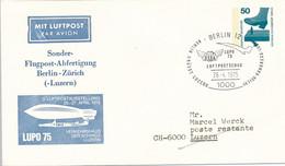 BERLIN 12  -  1975  ,   Unfallverhütung   - Sonder-Flugpost-Abfertigung  Berlin-Zürich...  -  Privatumschlag  PU 58 / 6b - Privatumschläge - Gebraucht