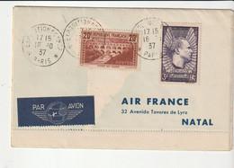 """Lettre Air France 4 Volets Exposition Paris 1937 Avec """"Pont Du Gard+Mermoz"""", Timbres Hong-Kong/Brésil/USA, Par Avion - Covers & Documents"""