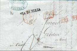 PREFILATELICA DA ALGER (ALGERI) A GRODEN TIROL ( VAL GARDENA) -  VIA DI NIZZA , VARI BOLLI DI TRANSITO 15 APRILE 1843 - ...-1850 Voorfilatelie