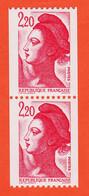 VaN099 Roulette Numérotée Chiffre Rouge Paire Type LIBERTE De GANDON 2,20 Fr Y-T 2427 / 2427a NEUF** 1986 - Coil Stamps