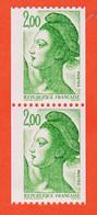 VaN101 Roulette Numérotée Chiffre Rouge Paire Type LIBERTE De GANDON 2,00 Frcs Y-T 2487 / 2487a NEUF** - Coil Stamps