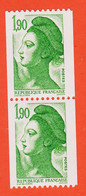 VaN108 Paire Roulette Numérotée Chiffre Rouge Type LIBERTE De GANDON 1,90 Fr Y-T 2426 / 2426a NEUF** 1986 - Coil Stamps