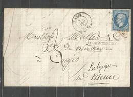 """France - Alpes Maritimes - Obl.GC Sur N°22 - Lettre GRASSE à ENGIS - """"Affranchissement Insuffisant"""" - Verso 8 Convoyeurs - 1849-1876: Periodo Clásico"""