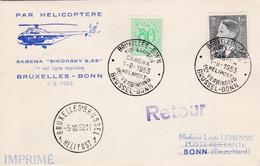 909 857 Enveloppe Retour Par Hélicoptère Sabena Sikorsky S-55 Helipost 1 Bruxelles Bonn - Cartas
