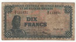 BELGISCH CONGO - CONGO BELGE - 10 FRANCS - 10 FRANK -1958 - RUANDA - BURUNDI - Bank Belg. Kongo