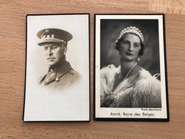 2 AVIS DE DECES SA MAJESTE LA REINE ASTRID REINE DES BELGES 1935 Et ALBERT 1 1934 - Obituary Notices