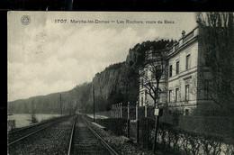 CP ( Marche - Les - Dames: Les Rochers, Route De Beez) Obl. LIEGE - ERQUELINNES 02/07/1908 - Ambulanti