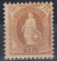 Switzerland 1882 Standing Helvetia 3 Francs Mi#64 D - Perforation 11 1/2 : 12 Mint Never Hinged - Nuovi