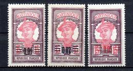 Col22  Martinique N° 86 à 88 Neuf X MH  Cote 1,70 Euro - Neufs