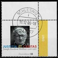 Bund 2005,Michel# 2572 O Kardinal Joseph Hoffner, 100 Geburtstag, Eckrand - Gebruikt