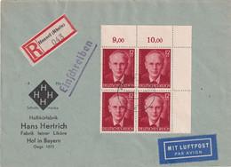 ALLEMAGNE 1943 LETTRE RECOMMANDEE DE HONNEF AVEC CACHET ARRIVEE HOF - Briefe U. Dokumente