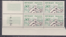France N° 964 XX J. O. Helsinki : Aviron En Bloc De 4 Coin Daté Du 4 . 2 . 54 ;  2 Traits, Sans Charnière, TB - Ongebruikt