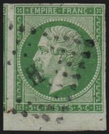 N°12 Bord De Feuille, Napoléon 5c Vert, Oblitéré Bureau De Paris H - SUPERBE - 1853-1860 Napoléon III