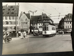 Photographie Originale De J.BAZIN : Tramways De STRASBOURG , Réseau Urbain: PLACE Du CORBEAU  En  1955 - Trenes