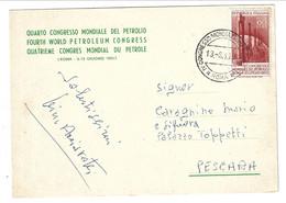 1955 Congresso Mondiale Del Petrolio. PETROLEUM CONGRESS 60 Lire Per Pescara - 1946-60: Marcophilie