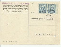 """Czechoslovakia. Card From Brno (Brunn) 1945. """"German Text Not Allowed"""" Stamp. - Storia Postale"""