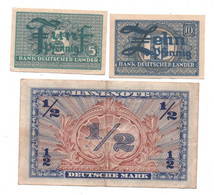 Allemagne- 1948 - Occupation Alliés - Lot De 3 Billets ( 5 Et 10 Pf-(lander) Et 1/2 Mark )    Circulés, Bon état - Non Classés