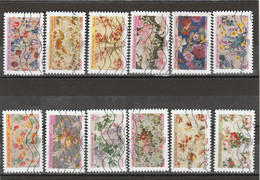 FRANCE 2021 ISSU DU CARNET MOTIFS DE FLEURS SERIE COMPLETE OBLITERE - Adhesive Stamps