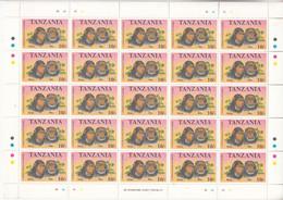 1992 Tanzania 10/- Gombe Chimpanzees LARGE Complete Sheet Of 25 MNH - Chimpanzees