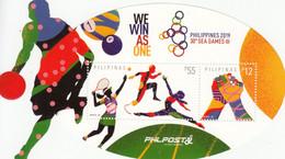 2019 Philippines Basketball Tennis SEA Games Gymnastics SHAPED Souvenir Sheet MNH - Philippines