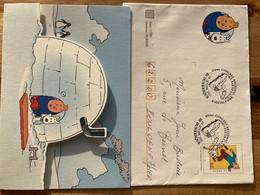 Dunkerque 2003 Lite Surf Congrès Régional  Prêt à Poster Tintin Et Milou - Commemorative Postmarks