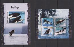 ST1962 2016 NIGER FAUNA FISH & MARINE LIFE ORCAS LES ORQUES KB+BL MNH - Balene