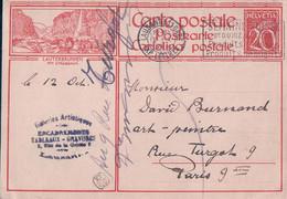 Suisse, Entier Postal 20 Ct, Lauterbrunnen, Galeries Artistiques Lausanne - D. Burnand Peintre Paris (12.10.1929) - Interi Postali