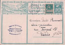Suisse, Entier Postal 10 Ct + Timbre, Kippel, Galeries Artistiques Lausanne - D. Burnand Peintre Paris (9.10.1929) - Interi Postali