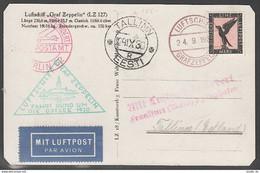 Graf Zeppelin Flight 1930 Postal Card Germany - Estonia Estland; 24.9.30 - Estonia