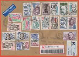 FRANCIA - France - 2004 - 23 Stamps (3 On The Rear) - Registered - Medium Envelope - Viaggiata Da Bordeaux Per Bruxelles - 1961-....