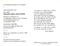 Gerard Albert Cesar Huys (1920-1985) ~ Oudstrijder (1940-1945) - Images Religieuses