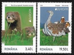 """RUMANIA /ROMANIA / RUMÄNIEN  -EUROPA 2021 -ENDANGERED NATIONAL WILDLIFE""""- SERIE De 2 V. - N - 2020"""