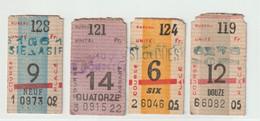 4 Tickets De Pari Hippique Système Chauvin  Ancêtre Du PMU  Bureaux 119 121 124 128 Circa 1950 - Biglietti D'ingresso