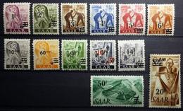 SAAR. N°216/228. 13 Timbres Neufs** 1947 - Avec Surcharge Thème Mineurs - Forgerons - Villageoises - - Nuevos