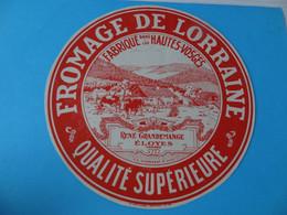 Etiquette De Fromage De Lorraine René Grandemange Eloyes Hautes Vosges - Cheese