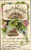 Gaufré CPA Glückwunsch Neujahr, 1902, Kleeblätter, Schwein, Vergissmeinnicht - Anno Nuovo