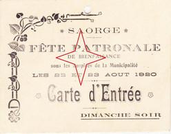 SAORGE. Carte D'Entrée De La Fête PATRONALE Des 22 Et 23 Août 1920. - Other Municipalities