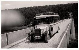 """Photo Originale Autocar à Identifier De La Ligne """" Holstein-Thüringen """" & Ses Valises Au Passage D'un Pont Vers 1930/40 - Automobile"""