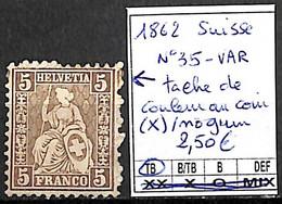 D - [840584]TB//(*)/nogum-Suisse 1862 - N° 35-VAR, Tache De Couleur Au Coin (*)/nogum - Nuovi