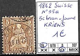 D - [840585]TB//O/Used-Suisse 1862 - N° 35a, 5c Brun-jaune, KRIENS - Usati