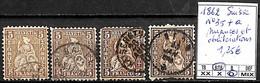 D - [840587]TB//O/Used-Suisse 1862 - N° 35+a, Nuances Et Oblitérations - Usati