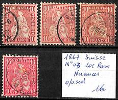 D - [840590]TB//O/Used-Suisse 1867 - N° 43, 10c Rose, Nuances - Usati