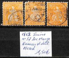 D - [840592]TB//O/Used-Suisse 1881 - N° 37, 20c Orange, Nuances Et Oblit - Usati