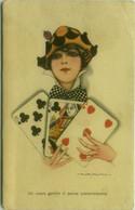 NANNI SIGNED 1910s  POSTCARD - WOMAN & PLAYING CARDS - N.337/5 (BG1818) - Nanni