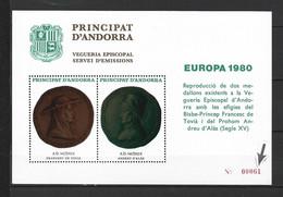 ANDORRA VEGUERIA EPISCOPAL HOJITA RECUERDO Nº 4 - EUROPA 1980 VARIEDAD NUMERACIÓN EN ROJO MUY RARA(    F.V.)   ) - Vegueria Episcopal